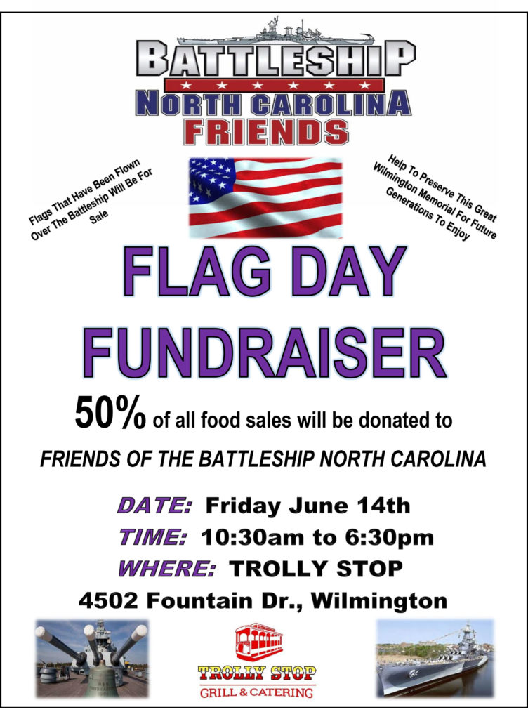Details about Flag Day fundraiser at Trolly Stop for Battleship NORTH CAROLINA