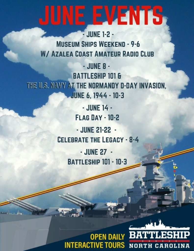 June 2019 events at the Battleship NORTH CAROLINA