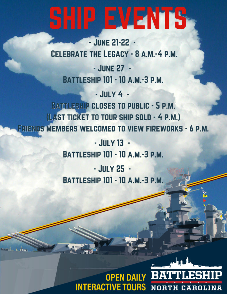 Events at the Battleship NORTH CAROLINA in late June and July 2019