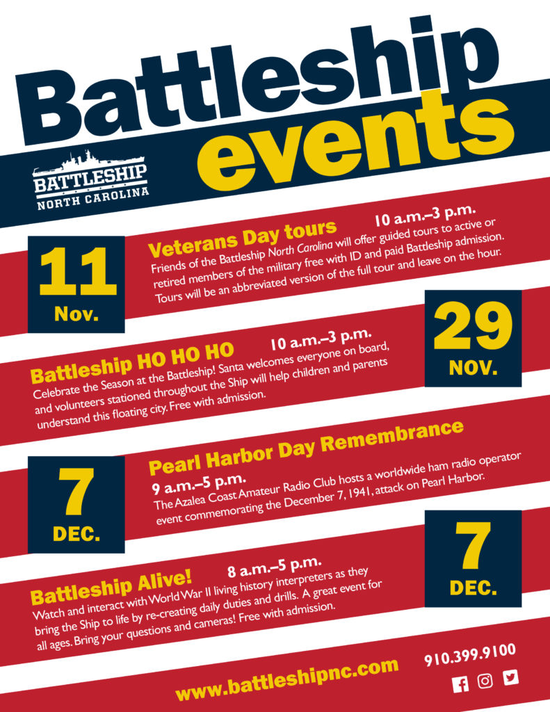 November and December programs at Battleship NORTH CAROLINA (see event calendar for details)