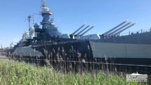 Portside view of Battleship with tall grasses in foreground