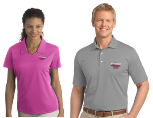 Woman and man wearing shirts with Friends of the Battleship NORTH CAROLINA logo