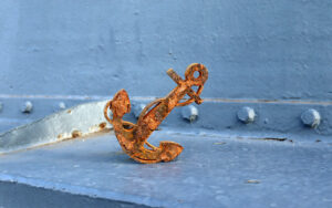 Fouled anchor shape cut from steel taken from the hull of Battleship NORTH CAROLINA
