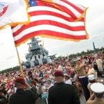 All-Service Color Guard with flags and Second Marine Division Band
