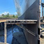 First cut into the steel hull of Battleship NORTH CAROLINA for hull repairs in 2020.